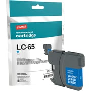 Staples® Remanufactured Inkjet Cartridge, Brother LC65 (LC-65C), Cyan, High Yield