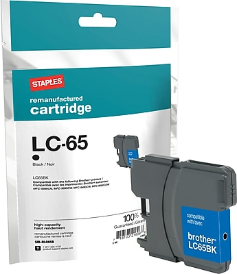 Staples® Remanufactured Inkjet Cartridge, Brother LC65 (LC-65Black), Black, High Yield