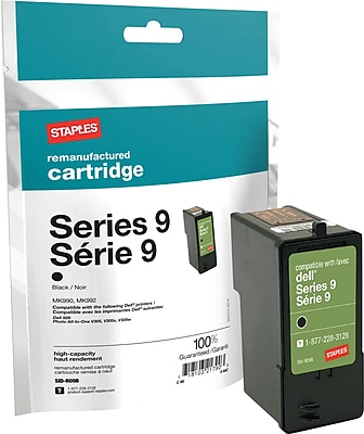 Staples Remanufactured Black Ink Cartridge, Dell Series 9 (SID-R09B), High Yield
