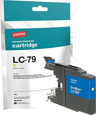 Staples® Remanufactured Inkjet Cartridge, Brother LC79XXL (LC-79Y), Yellow, Extra High Yield