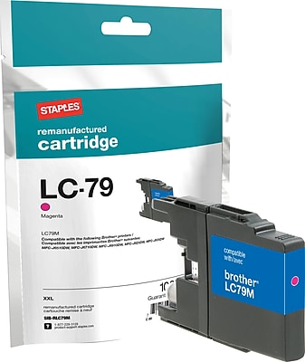 Staples® Remanufactured Inkjet Cartridge, Brother LC79XXL (LC-79M), Magenta, Extra High Yield