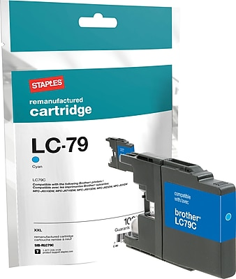 Staples® Remanufactured Inkjet Cartridge, Brother LC79XXL (LC-79C), Cyan, Extra High Yield