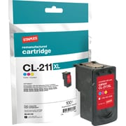 Staples® Remanufactured Inkjet Cartridge, Canon CL-211XL (2975B001), Color, High Yield