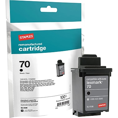Staples® Remanufactured Black Ink Cartridge Compatible with Lexmark® 70