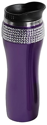Glamstone Stainless Steel Coffee Mug Drink Tumbler with Lid, Purple