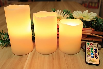 Wave Top Pillar Candle with 15 Key Remote