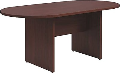 HON Preside Laminate Table, Racetrack, Flat Edge, Panel Base, 72