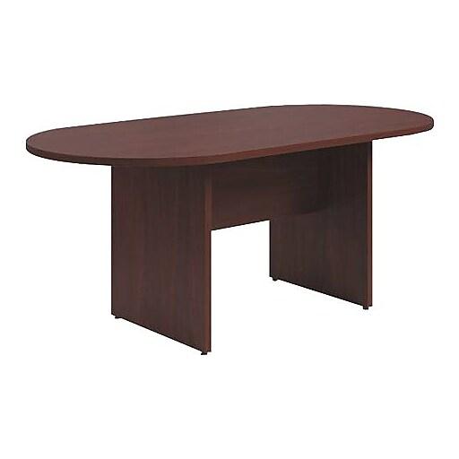HON Preside W Laminate Table Racetrack Flat Edge Panel Base - Hon preside table