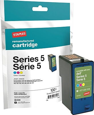 Staples® Remanufactured Inkjet Cartridge, Series 5 (J5567/M4646), Color, High Yield