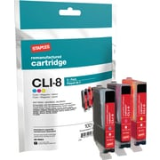 Staples® Remanufactured Inkjet Cartridge, Canon CLI-8 (0621B002/0622B002/0623B002), Cyan, Magenta, Yellow, Multi-Pack