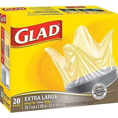 Glad® - Sacs à déchets transparents, très grands, 33 gallons, paq./20