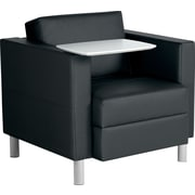 Global Reception – Fauteuil de salon City, noir avec tablette blanche