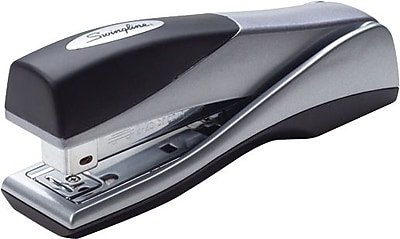 Swingline® Optima® Grip Stand-up Desktop Stapler, 25 Sheet Capacity, Handheld, Silver