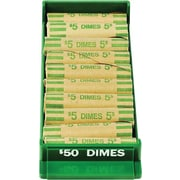 "MMF Industries™ Porta-Count® Rolled-Coin Storage Tray, Green, $50 Dimes, 1 1/2""H x 3 3/16""W x 91/8""D"