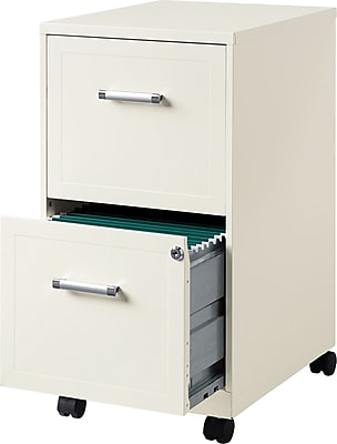 Hirsh Industries 2 Drawer Vertical Mobile File Cabinet Pearl White, Letter Size, 18''D (19634)