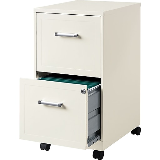 Hirsh Industries 2 Drawer Vertical Mobile File Cabinet Pearl White Letter Size 18 Rollover Image To Zoom In Https Www Staples 3p S7 Is