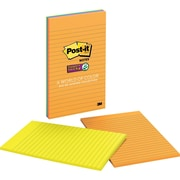 "Post-it® Super Sticky Notes, 5"" x 8"", Rio De Janeiro Collection, Lined, 4 Pads/Pack (5845SSUC)"