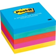 "Post-it® Notes, Jaipur Collection, 3"" x 3"", Assorted Colors, 5 Pads/Pack (654-5UC/VA19/21)"