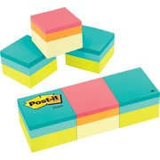 "Post-it® Notes Cube, 2"" x 2"", Green Wave and Canary Yellow Wave, 400 Sheets/Cube, 3 Cubes/Pack (2051-3PK)"