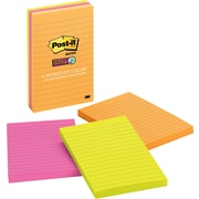 "Post-it® Super Sticky Notes, 4"" x 6"", Rio De Janeiro Collection, Lined, 3 Pads/Pack (6603SSUC)"