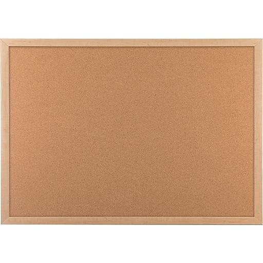 U Brands Cork Bulletin Board 35 X 23 Oak Wood Frame Staples