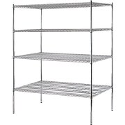 "Sandusky® Heavy Duty Wire Shelving - 4 Tier, Chrome, 74""H x 60""W x 36""D"