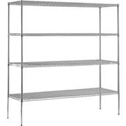 "Sandusky® Heavy Duty Wire Shelving - 4 Tier, Chrome, 74""H x 72""W x 18""D"
