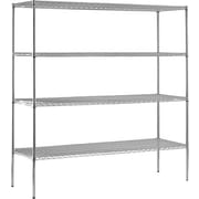 "Sandusky® Heavy Duty Wire Shelving - 4 Tier, Chrome, 74""H x 72""W x 24""D"