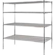 "Sandusky® Heavy Duty Wire Shelving - 4 Tier, Chrome, 74""H x 72""W x 36""D"