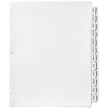 Avery™ Index Maker® Double-Column Clear Label Tab Dividers, 24-Tab, White, 8 1/2