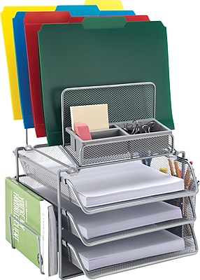 staples all in one silver wire mesh desk organizer 27642 staples rh staples com staples desk organizer martha stewart staples desk organizer plastic