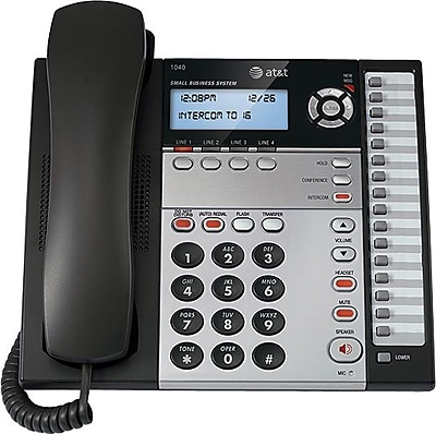 AT&T 1040 4-Line Expandable Small Business Telephone , Silver/Black