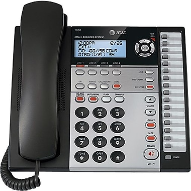 AT&T 1080 4-Line Expandable Small Business Telephone with Digital Answering System, Silver/Black