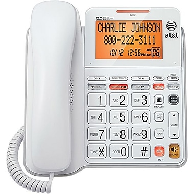 AT&T 1-Line Corded Speakerphone With Digital Answering System, White