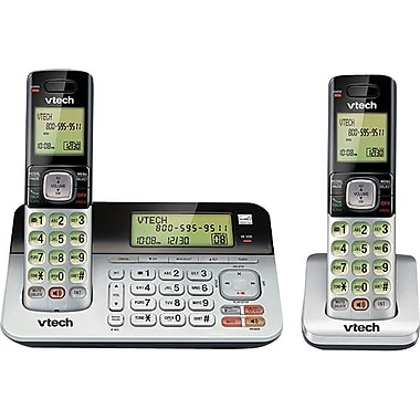VTech CS6859-2 Two-Handset Cordless DECT 6.0 Expandable Phone with Answering System, Dual Caller ID/Call Waiting, Silver/Black