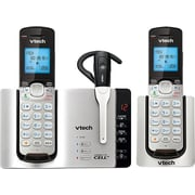 VTech DS6671-3 DECT 6.0 Expandable Cordless Phone and Headset with Bluetooth Connect to Cell and Answering System, Silver/Black
