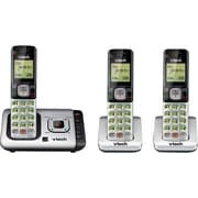 VTech CS6729-3 DECT 6.0 3 Handsets Expandable Cordless Phone with Answering System and Caller ID/Call Waiting, Silver