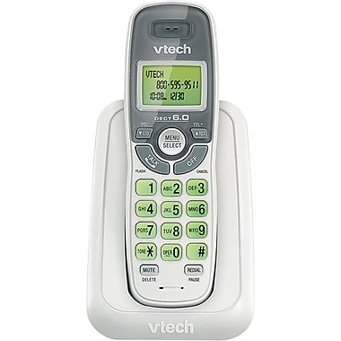 VTech CS6114 DECT 6.0 Cordless Phone with Caller ID/Call Waiting, White with 1 Handset