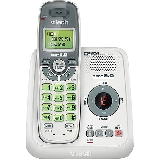 VTech DECT 6 0 CS6124 Cordless Phone with Answering System and Caller  ID/Call Waiting, White