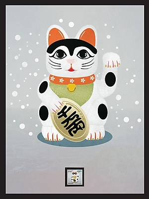 Maneki-Neko Framed Wall Art with Postage Stamp