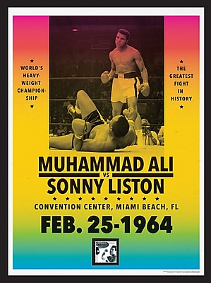 Muhammad Ali vs. Sonny Liston Framed Wall Art with Postage Stamp