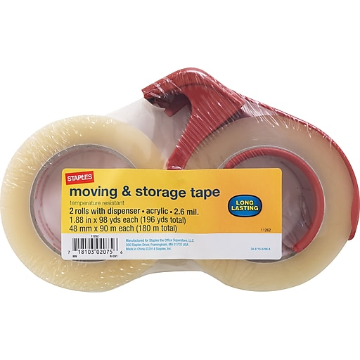StaplesR Heavy Duty Storage Tape With Dispenser 188 X 98 Yards Clear 2 Pack ST A26 902DP3