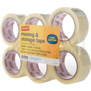 "Staples Moving and Storage Packing Tape, 1.88"" x 54.6 Yds, Clear, 6/Pack (ST-A26-6CR)"
