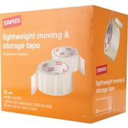 "Staples Lightweight Moving and Storage Packing Tape, 1.88"" x 54.6yds, Clear, 36/Pack (ST-A22-36)"