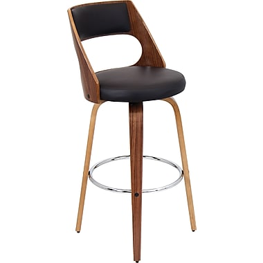 LumiSource Cecina Swivel Barstool, Walnut Wood Finish and Brown Leatherette (BS-JY-CCN WL+BN)