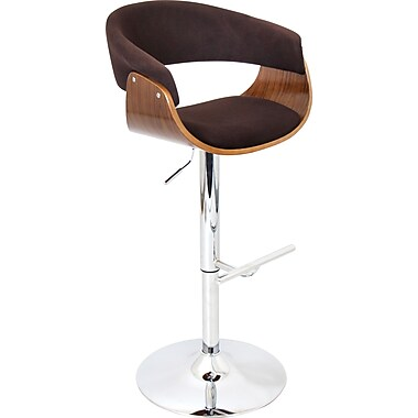 LumiSource Vintage Mod Adjustable Height Barstool, Walnut and Espresso Fabric (BS-JY-VMO WL+E)