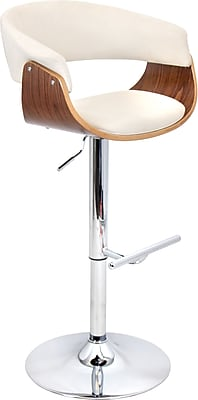 Lumisource Vintage Mod Adjustable Height Barstool, Walnut and Ivory Fabric