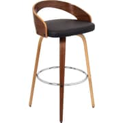 Lumisource Grotto Swivel Barstool, Walnut Wood Finish and Brown Leatherette