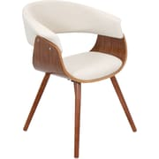 Lumisource Vintage Mod Accent Chair, Walnut Wood Finish and White Fabric