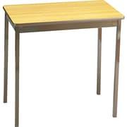 "Barricks Utility Table, Rectangle, 4 Legs, 30"" x 18"" x 30"", Steel, Light Oak Top"